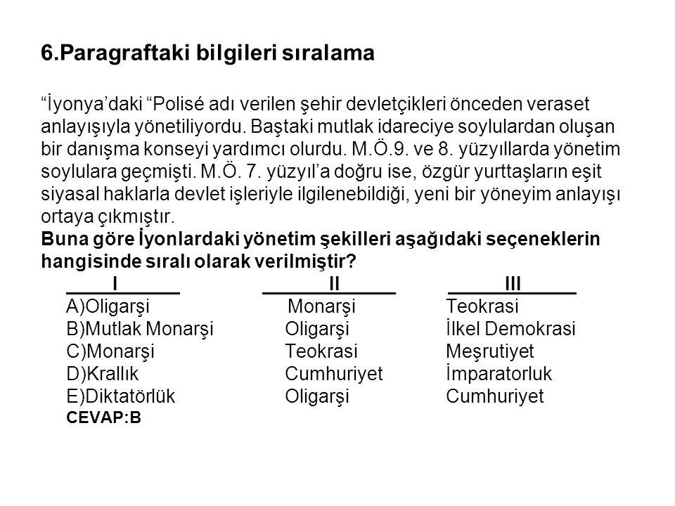 """6.Paragraftaki bilgileri sıralama """"İyonya'daki """"Polisé adı verilen şehir devletçikleri önceden veraset anlayışıyla yönetiliyordu. Baştaki mutlak idare"""