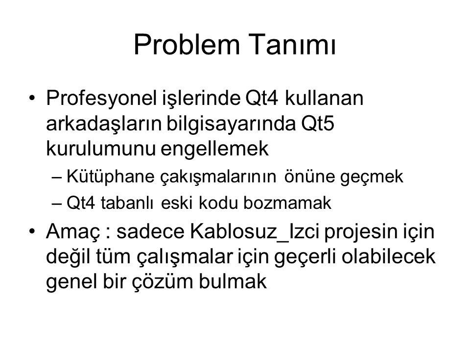 Problem Tanımı Profesyonel işlerinde Qt4 kullanan arkadaşların bilgisayarında Qt5 kurulumunu engellemek –Kütüphane çakışmalarının önüne geçmek –Qt4 tabanlı eski kodu bozmamak Amaç : sadece Kablosuz_Izci projesin için değil tüm çalışmalar için geçerli olabilecek genel bir çözüm bulmak