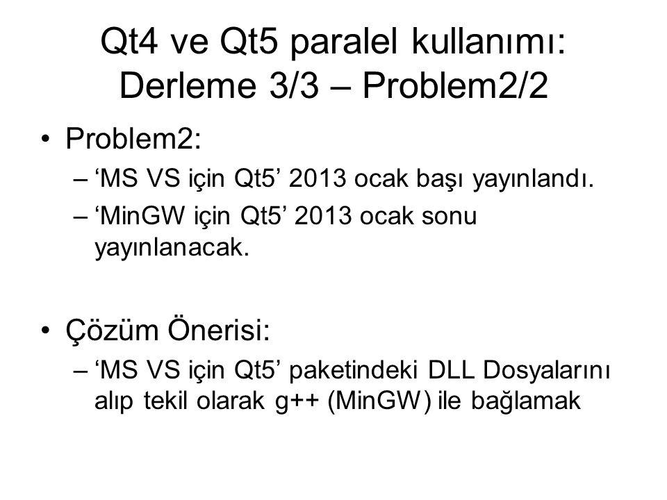 Qt4 ve Qt5 paralel kullanımı: Derleme 3/3 – Problem2/2 Problem2: –'MS VS için Qt5' 2013 ocak başı yayınlandı.