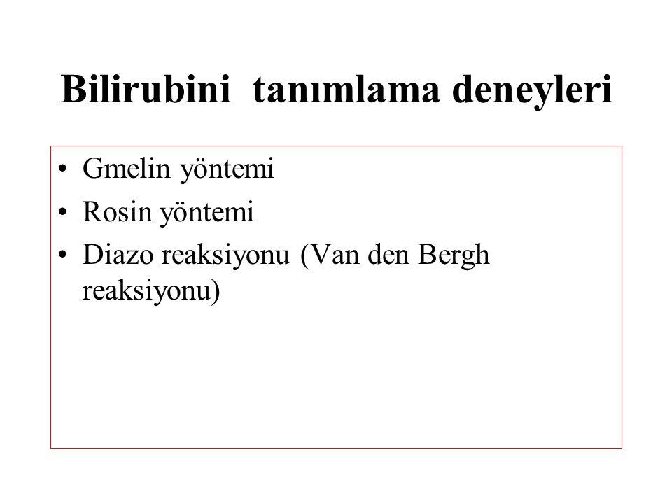Bilirubini tanımlama deneyleri Gmelin yöntemi Rosin yöntemi Diazo reaksiyonu (Van den Bergh reaksiyonu)
