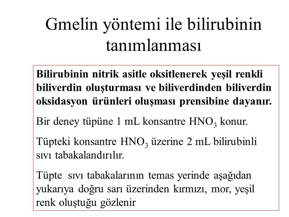 Gmelin yöntemi ile bilirubinin tanımlanması Bilirubinin nitrik asitle oksitlenerek yeşil renkli biliverdin oluşturması ve biliverdinden biliverdin oks