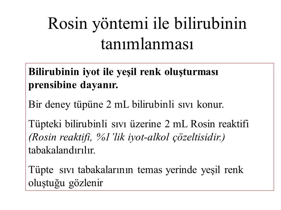 Rosin yöntemi ile bilirubinin tanımlanması Bilirubinin iyot ile yeşil renk oluşturması prensibine dayanır. Bir deney tüpüne 2 mL bilirubinli sıvı konu