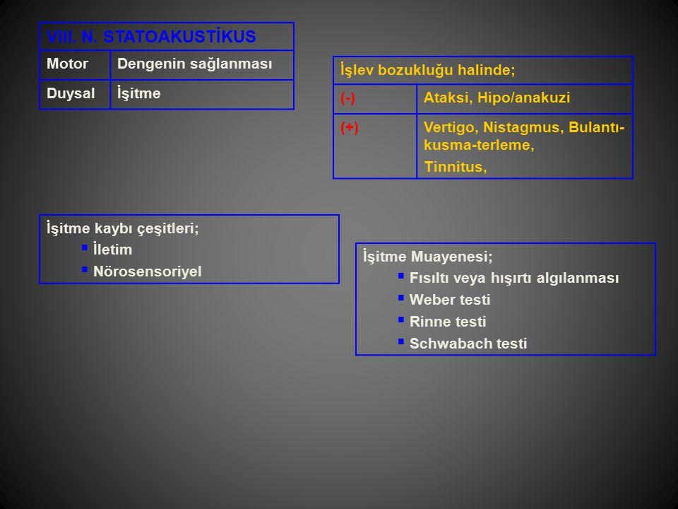 VIII. N. STATOAKUSTİKUS MotorDengenin sağlanması Duysalİşitme İşlev bozukluğu halinde; (-)Ataksi, Hipo/anakuzi (+)Vertigo, Nistagmus, Bulantı- kusma-t