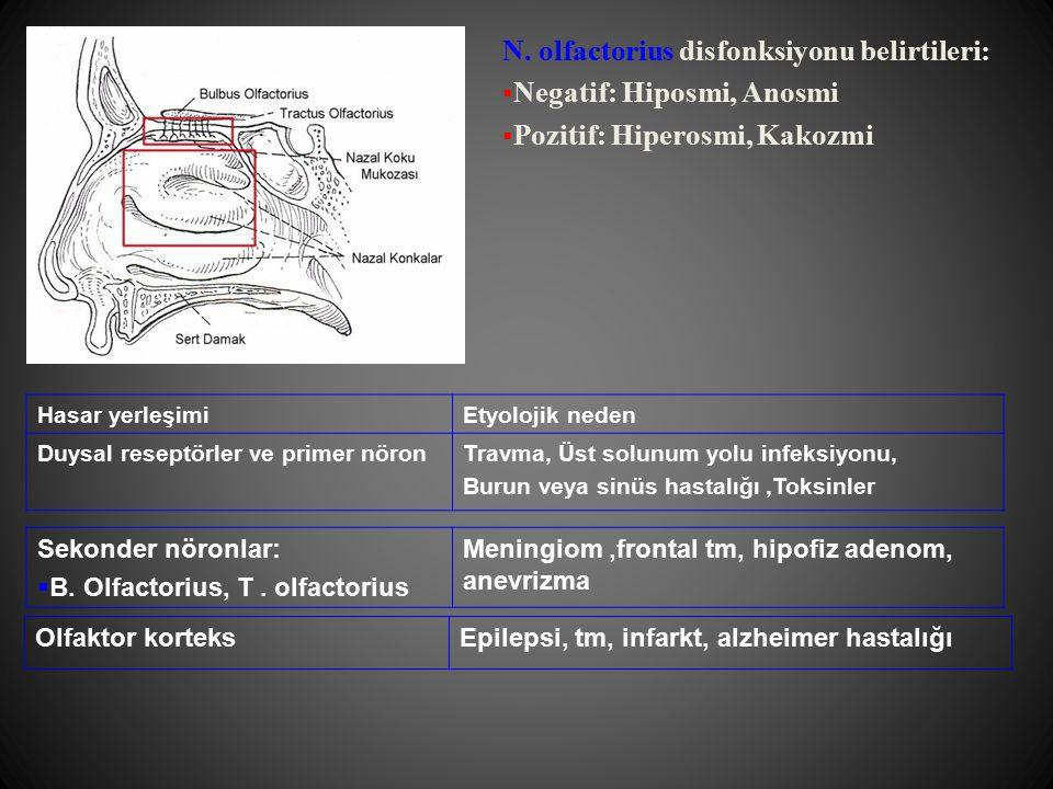 Optik kiazma  Tümör: Kiazmal-hipotalamik gliomlar,kraniyofaringeomalar, hipofiz adenomları, meningeomalar  Vasküler: Hipofiz apopleksisi, int.