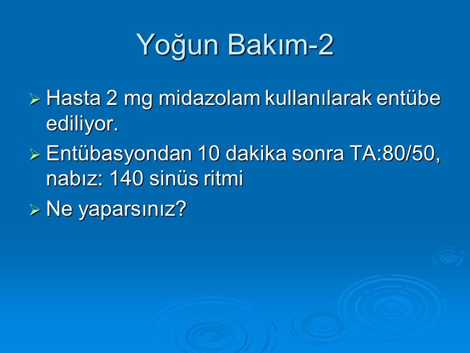 Yoğun Bakım-2  Hasta 2 mg midazolam kullanılarak entübe ediliyor.