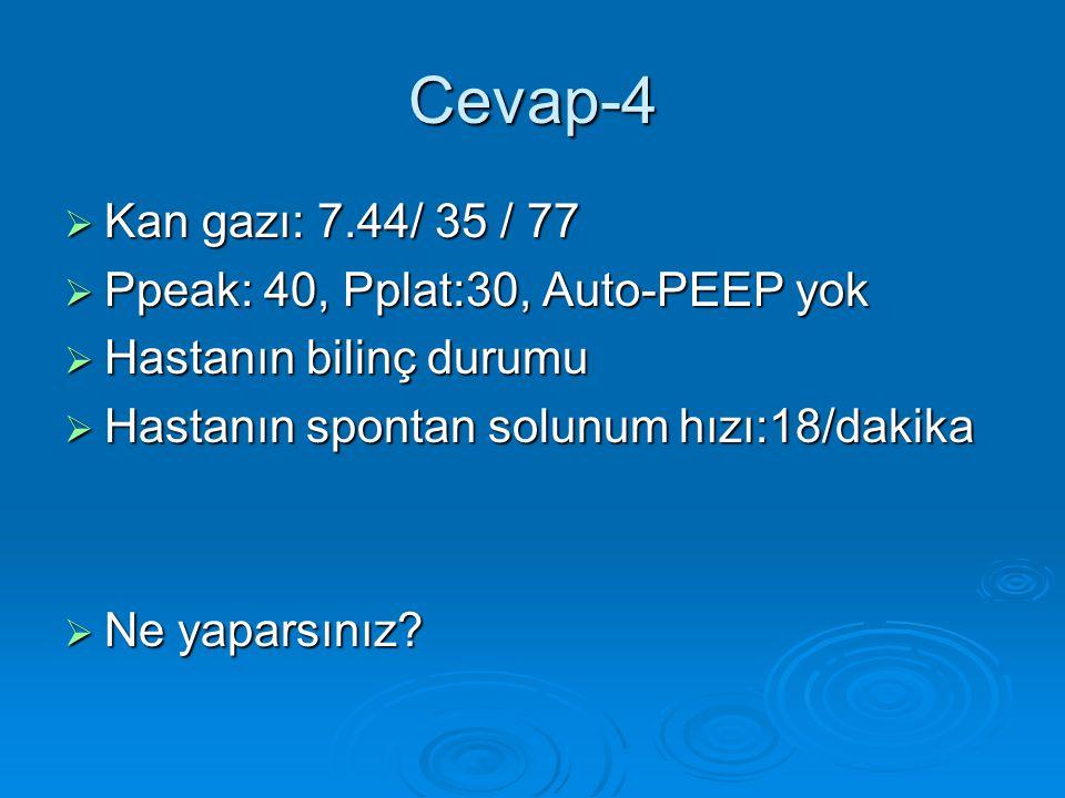 Cevap-4  Kan gazı: 7.44/ 35 / 77  Ppeak: 40, Pplat:30, Auto-PEEP yok  Hastanın bilinç durumu  Hastanın spontan solunum hızı:18/dakika  Ne yaparsınız?