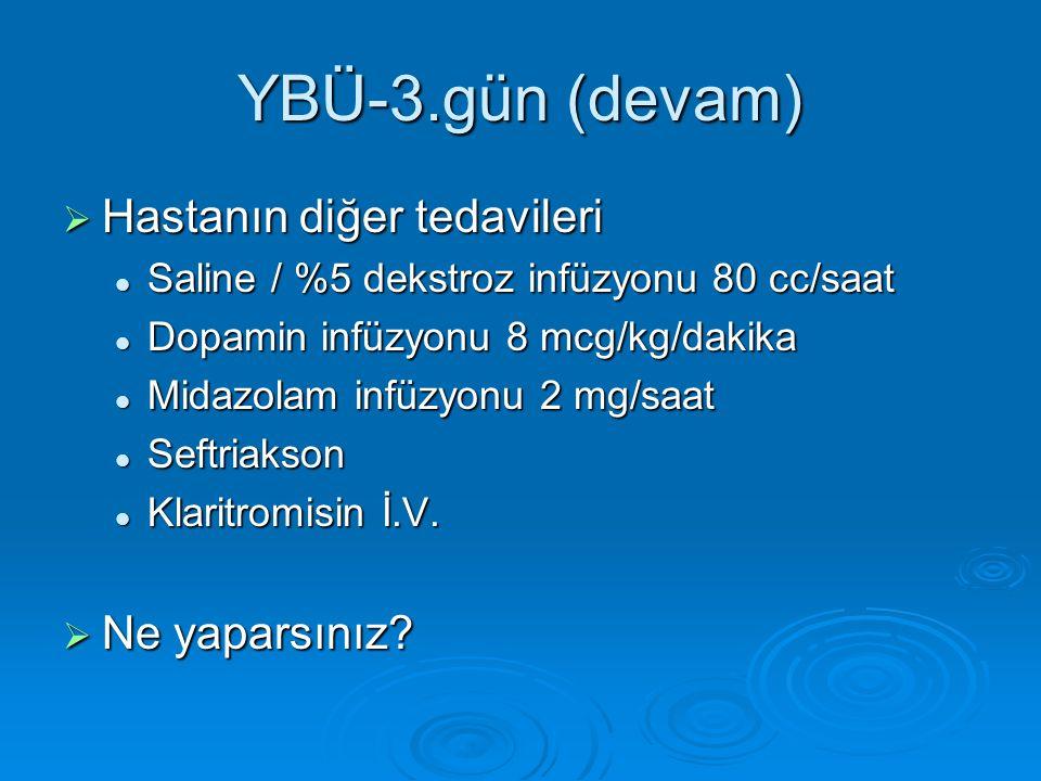 YBÜ-3.gün (devam)  Hastanın diğer tedavileri Saline / %5 dekstroz infüzyonu 80 cc/saat Saline / %5 dekstroz infüzyonu 80 cc/saat Dopamin infüzyonu 8 mcg/kg/dakika Dopamin infüzyonu 8 mcg/kg/dakika Midazolam infüzyonu 2 mg/saat Midazolam infüzyonu 2 mg/saat Seftriakson Seftriakson Klaritromisin İ.V.