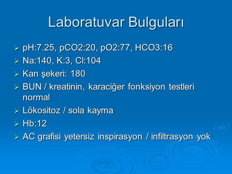 Laboratuvar Bulguları  pH:7.25, pCO2:20, pO2:77, HCO3:16  Na:140, K:3, Cl:104  Kan şekeri: 180  BUN / kreatinin, karaciğer fonksiyon testleri normal  Lökositoz / sola kayma  Hb:12  AC grafisi yetersiz inspirasyon / infiltrasyon yok