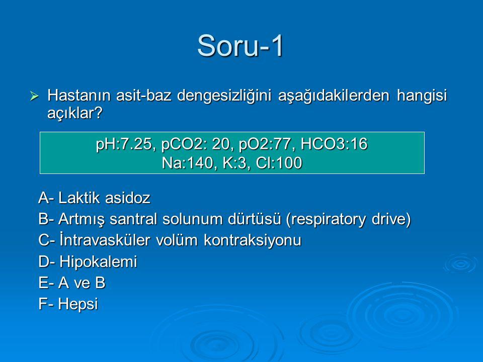 Soru-1  Hastanın asit-baz dengesizliğini aşağıdakilerden hangisi açıklar.