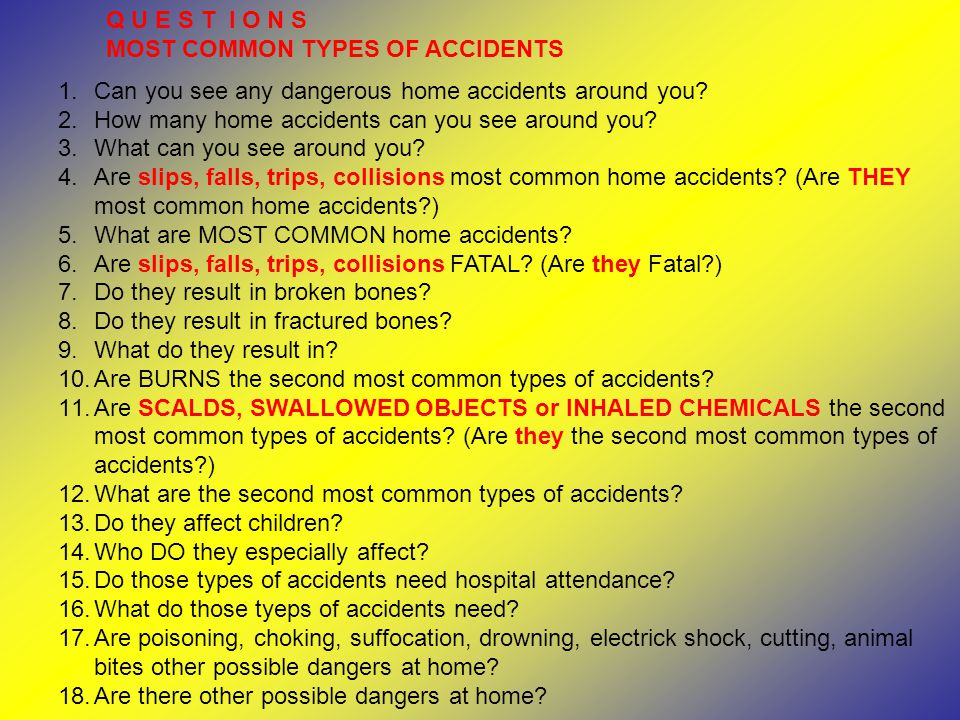 Q U E S T I O N S MOST COMMON TYPES OF ACCIDENTS 1.Can you see any dangerous home accidents around you.