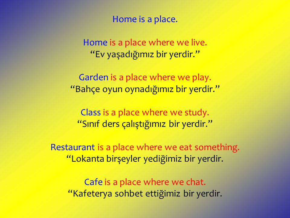 Home is a place. Home is a place where we live.