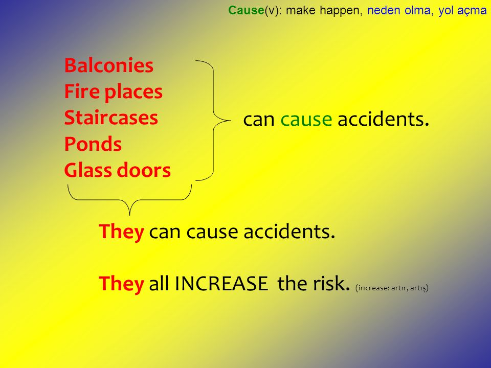 Balconies Fire places Staircases Ponds Glass doors can cause accidents. They can cause accidents. They all INCREASE the risk. (increase: artır, artış)