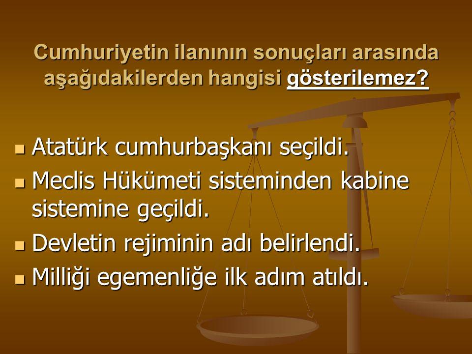 Gazi Mustafa Kemal'in cumhurbaşkanı seçilmeden önceki son görevi aşağıda verilenlerden hangisidir? Başbakanlık Başbakanlık TNMM Başkanlığı TNMM Başkan