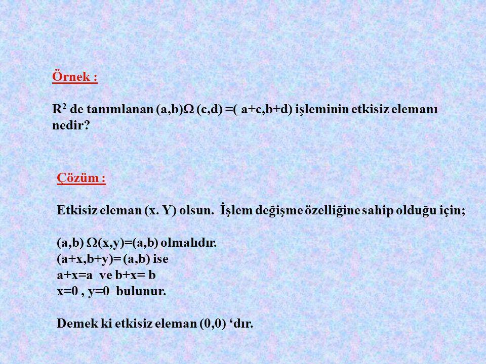a'nın tersi a -1 olsun. a  a -1 =0 olmalıdır. a+a -1 + 2a.a -1 =0 a -1 (1+2a)=-a a -1 =-a/(1+2a) bulunur. Örnek : işlemi R + da tanımlı bir işlem olm