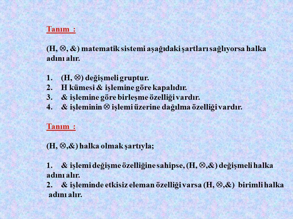 Tanım : G, boş olmayan bir küme olmak şartıyla  A da tanımlı bir işlem olsun. (G,  ) sistemi aşağıdaki özellikleri sağlıyorsa grup adını alır. Kapal