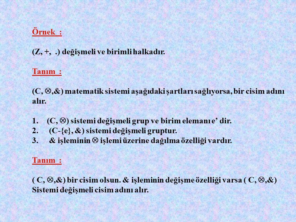 Tanım : (H, , &) matematik sistemi aşağıdaki şartları sağlıyorsa halka adını alır. 1.(H,  ) değişmeli gruptur. 2.H kümesi & işlemine göre kapalıdır.