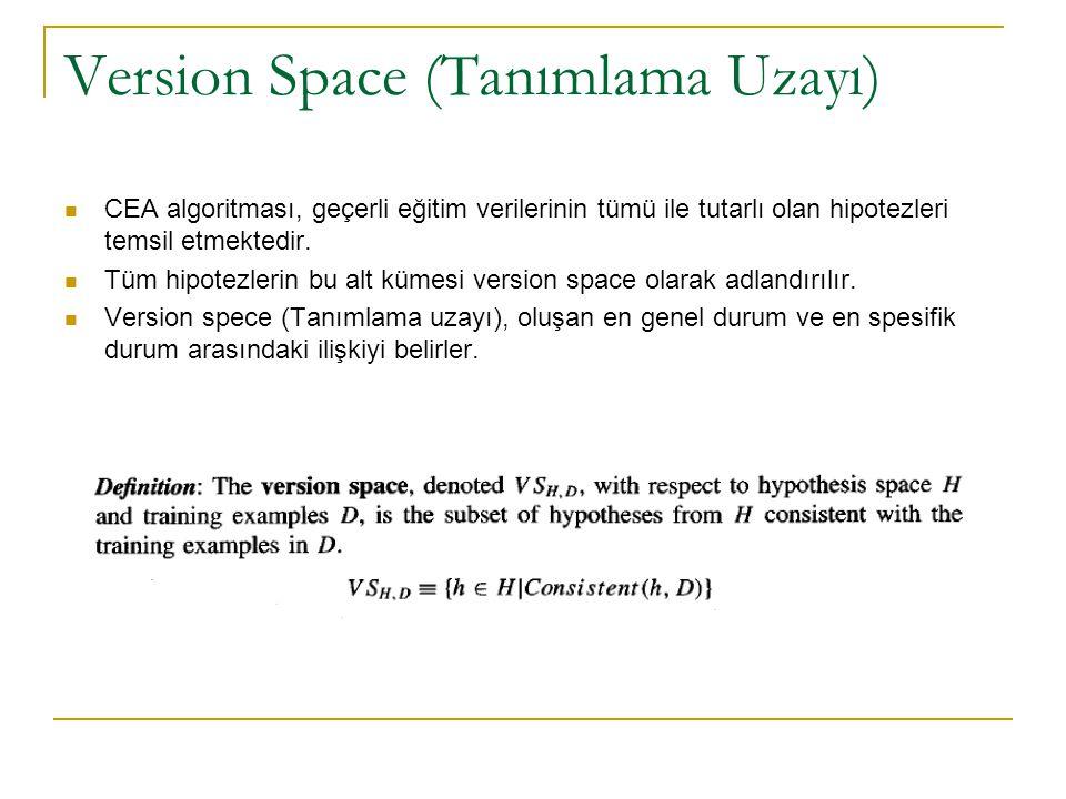 Version Space (Tanımlama Uzayı) CEA algoritması, geçerli eğitim verilerinin tümü ile tutarlı olan hipotezleri temsil etmektedir. Tüm hipotezlerin bu a