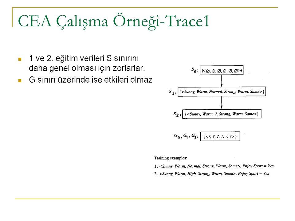 CEA Çalışma Örneği-Trace1 1 ve 2. eğitim verileri S sınırını daha genel olması için zorlarlar. G sınırı üzerinde ise etkileri olmaz