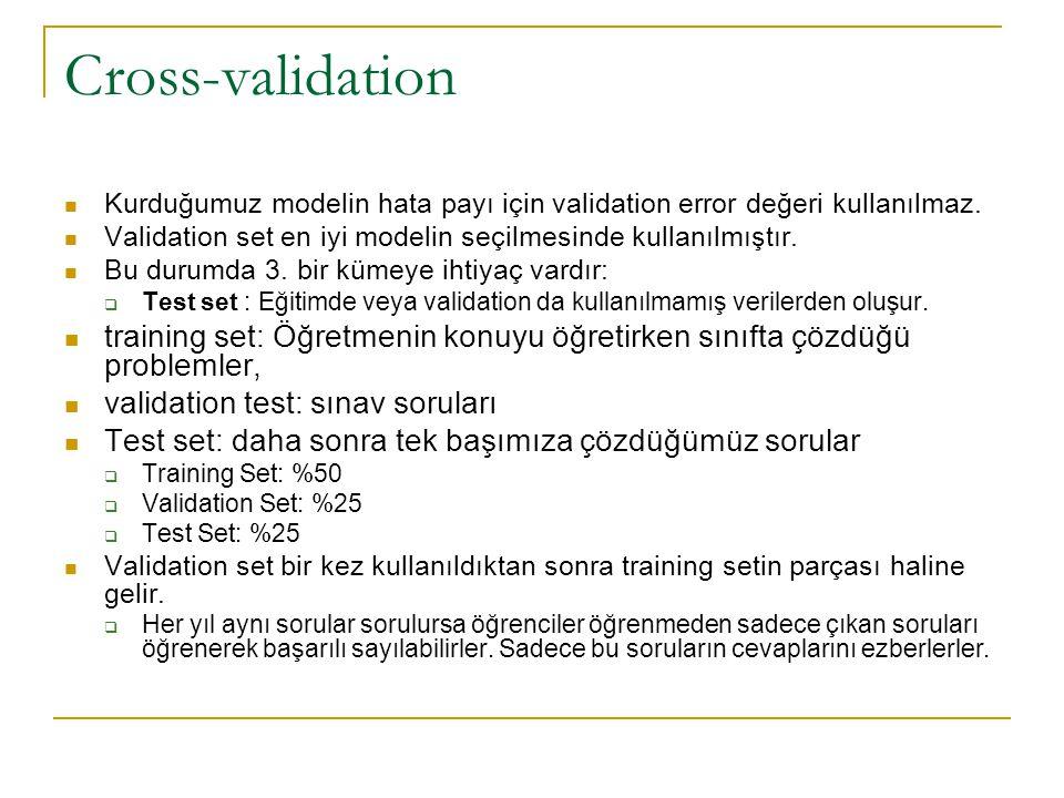 Cross-validation Kurduğumuz modelin hata payı için validation error değeri kullanılmaz. Validation set en iyi modelin seçilmesinde kullanılmıştır. Bu