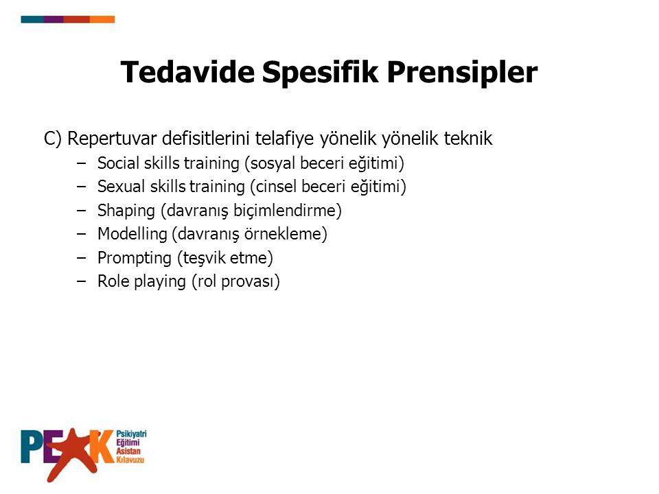 Tedavide Spesifik Prensipler C) Repertuvar defisitlerini telafiye yönelik yönelik teknik –Social skills training (sosyal beceri eğitimi) –Sexual skills training (cinsel beceri eğitimi) –Shaping (davranış biçimlendirme) –Modelling (davranış örnekleme) –Prompting (teşvik etme) –Role playing (rol provası)