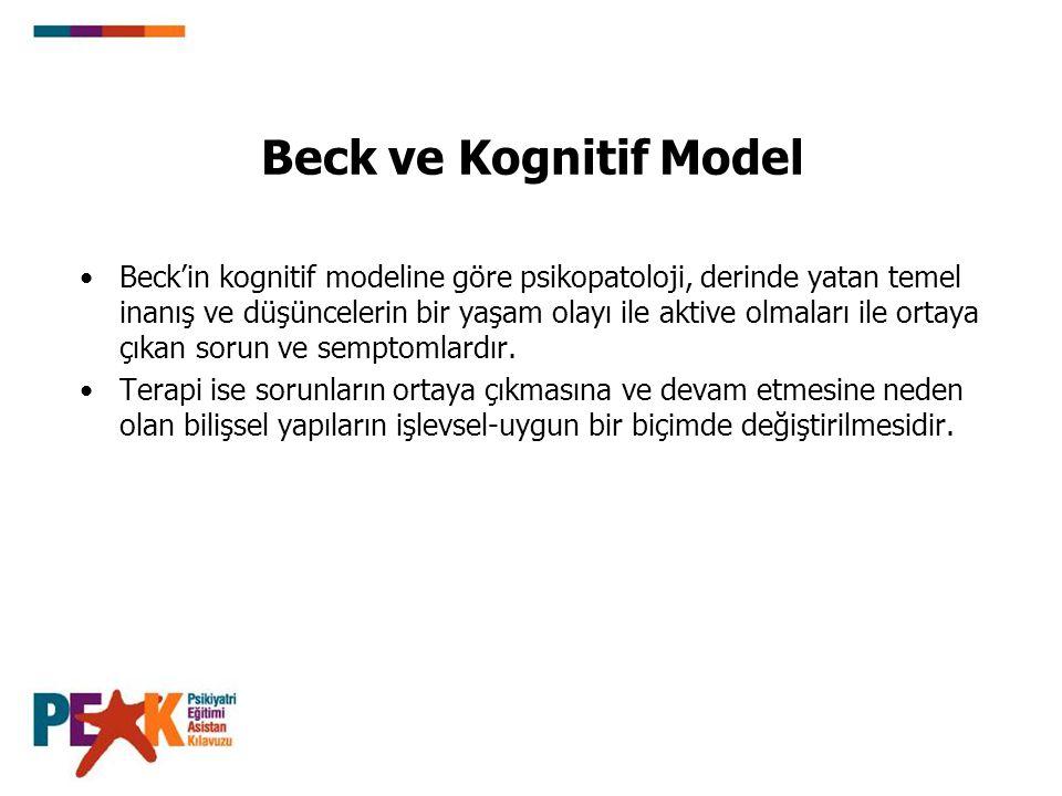 Beck ve Kognitif Model Beck'in kognitif modeline göre psikopatoloji, derinde yatan temel inanış ve düşüncelerin bir yaşam olayı ile aktive olmaları ile ortaya çıkan sorun ve semptomlardır.