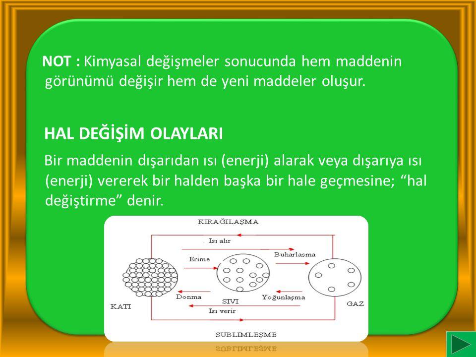 NOT : Kimyasal değişmeler sonucunda hem maddenin görünümü değişir hem de yeni maddeler oluşur.
