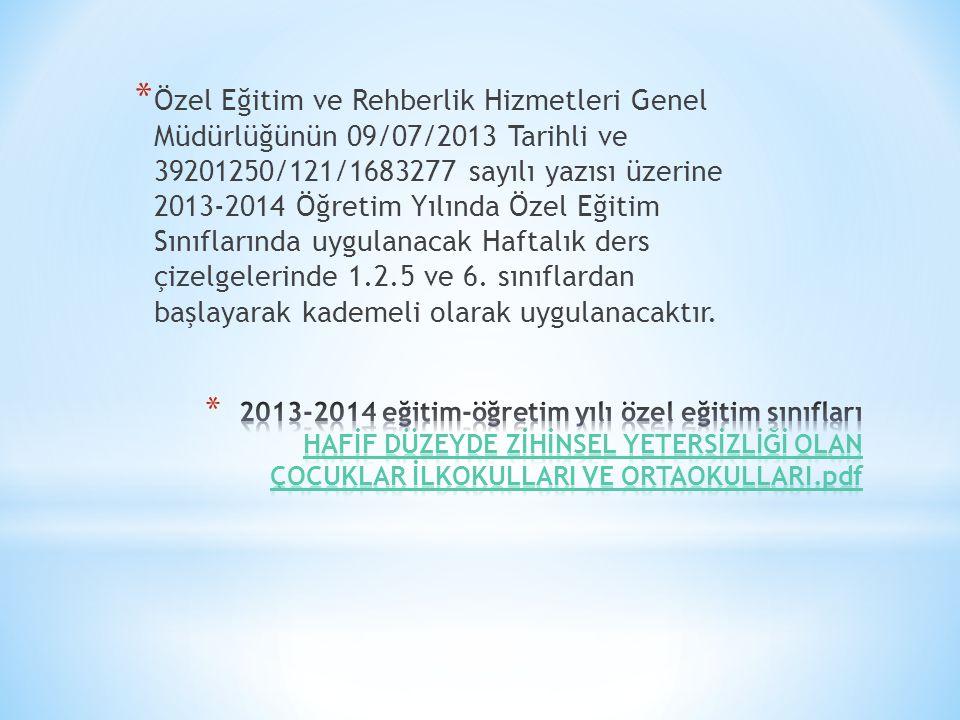 * Özel Eğitim ve Rehberlik Hizmetleri Genel Müdürlüğünün 09/07/2013 Tarihli ve 39201250/121/1683277 sayılı yazısı üzerine 2013-2014 Öğretim Yılında Öz