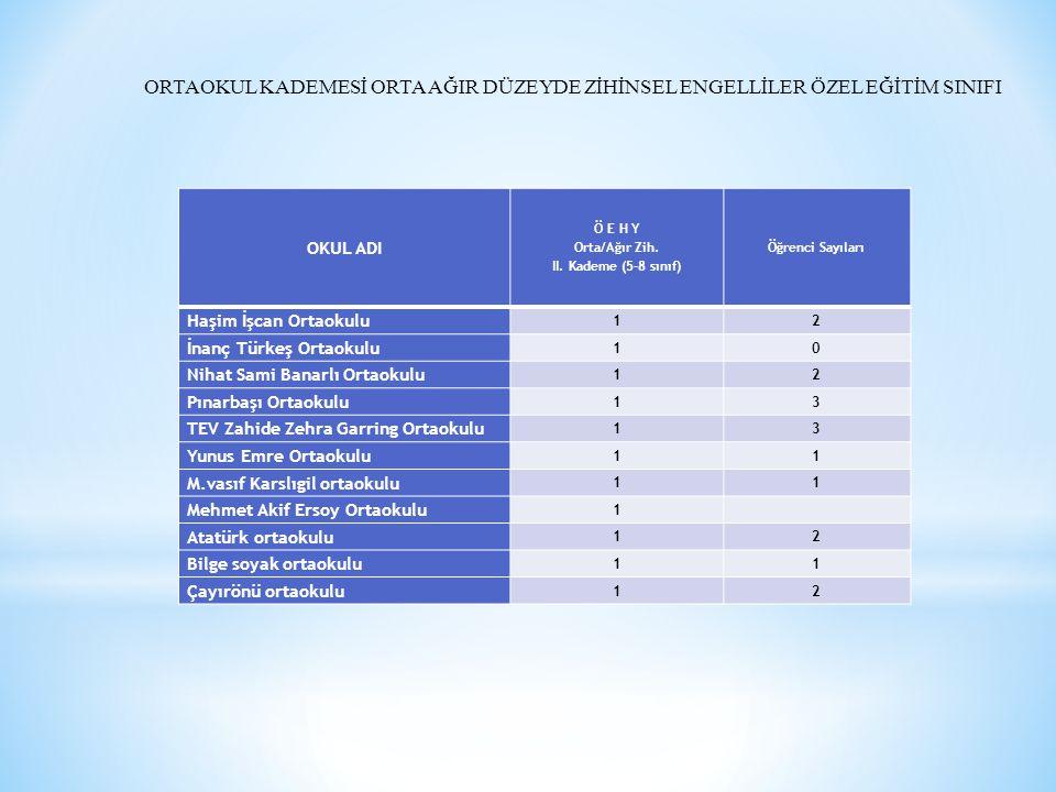 ORTAOKUL KADEMESİ ORTA AĞIR DÜZEYDE ZİHİNSEL ENGELLİLER ÖZEL EĞİTİM SINIFI OKUL ADI Ö E H Y Orta/Ağır Zih. II. Kademe (5-8 sınıf) Öğrenci Sayıları Haş
