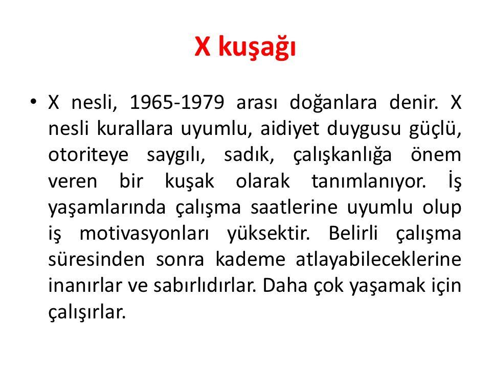 X kuşağı X nesli, 1965-1979 arası doğanlara denir. X nesli kurallara uyumlu, aidiyet duygusu güçlü, otoriteye saygılı, sadık, çalışkanlığa önem veren