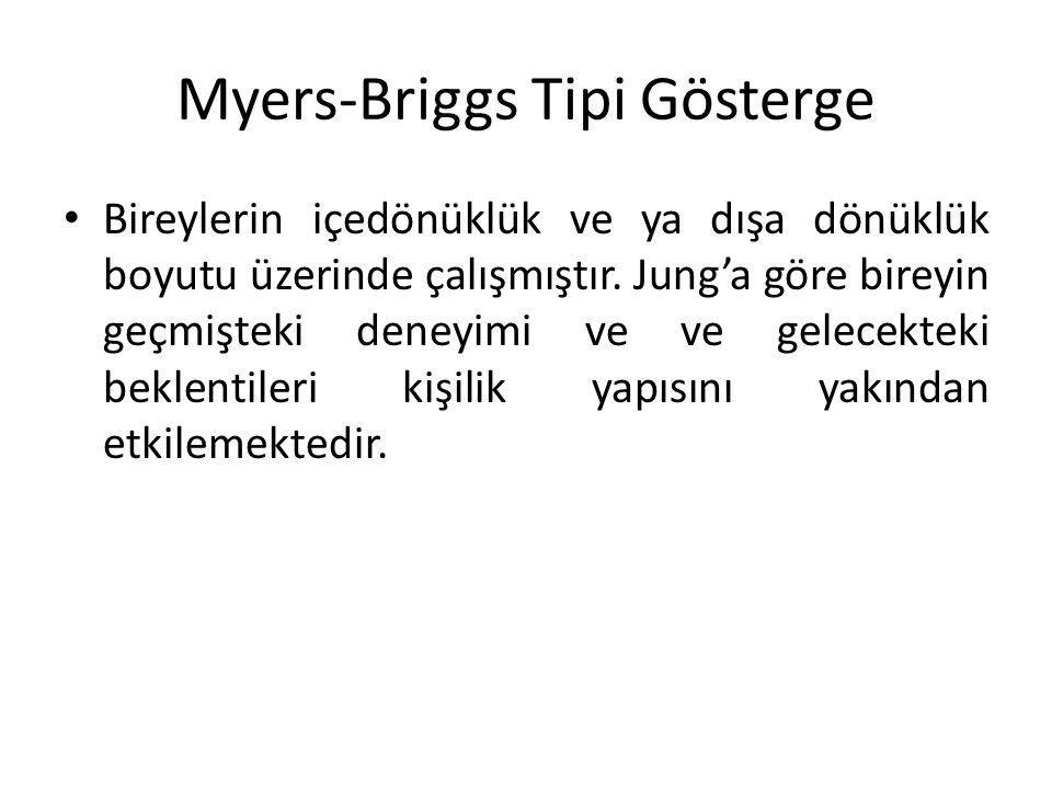 Myers-Briggs Tipi Gösterge Bireylerin içedönüklük ve ya dışa dönüklük boyutu üzerinde çalışmıştır. Jung'a göre bireyin geçmişteki deneyimi ve ve gelec