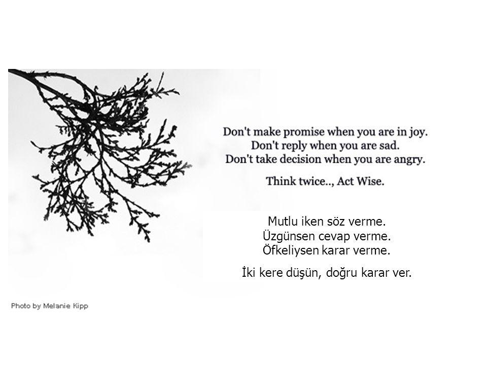 Mutlu iken söz verme.Üzgünsen cevap verme. Öfkeliysen karar verme.