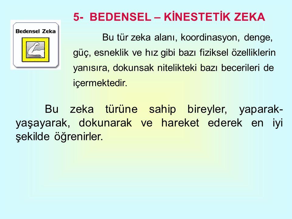 5- BEDENSEL – KİNESTETİK ZEKA Bu tür zeka alanı, koordinasyon, denge, güç, esneklik ve hız gibi bazı fiziksel özelliklerin yanısıra, dokunsak nitelikt