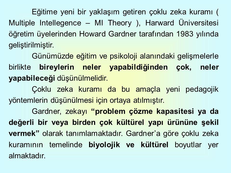 Eğitime yeni bir yaklaşım getiren çoklu zeka kuramı ( Multiple Intellegence – MI Theory ), Harward Üniversitesi öğretim üyelerinden Howard Gardner tar
