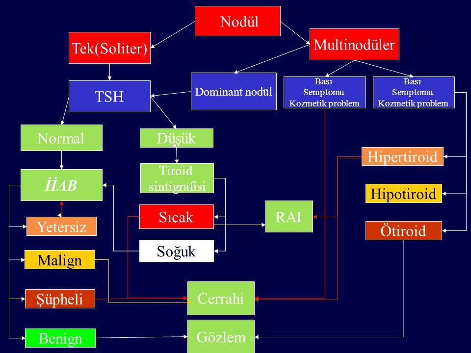 Nodül Tek(Soliter) Multinodüler TSH Normal Düşük Dominant nodül İİAB Tiroid sintigrafisi Benign Malign Şüpheli Yetersiz Sıcak Soğuk Bası Semptomu Kozm
