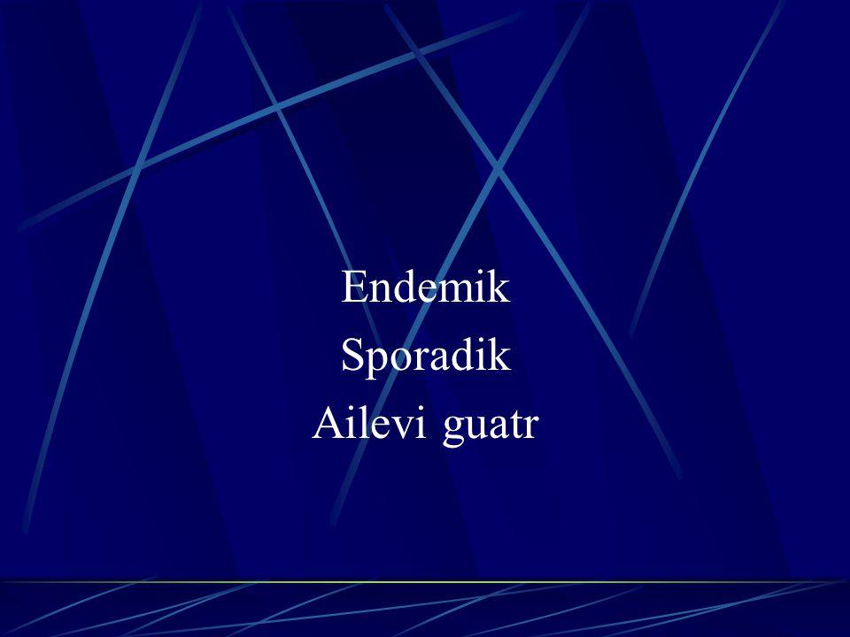 Endemik Guatr Bir bölgede dikkati çekecek kadar çok sayıda guatrlı bulunmasına endemik guatr denir.