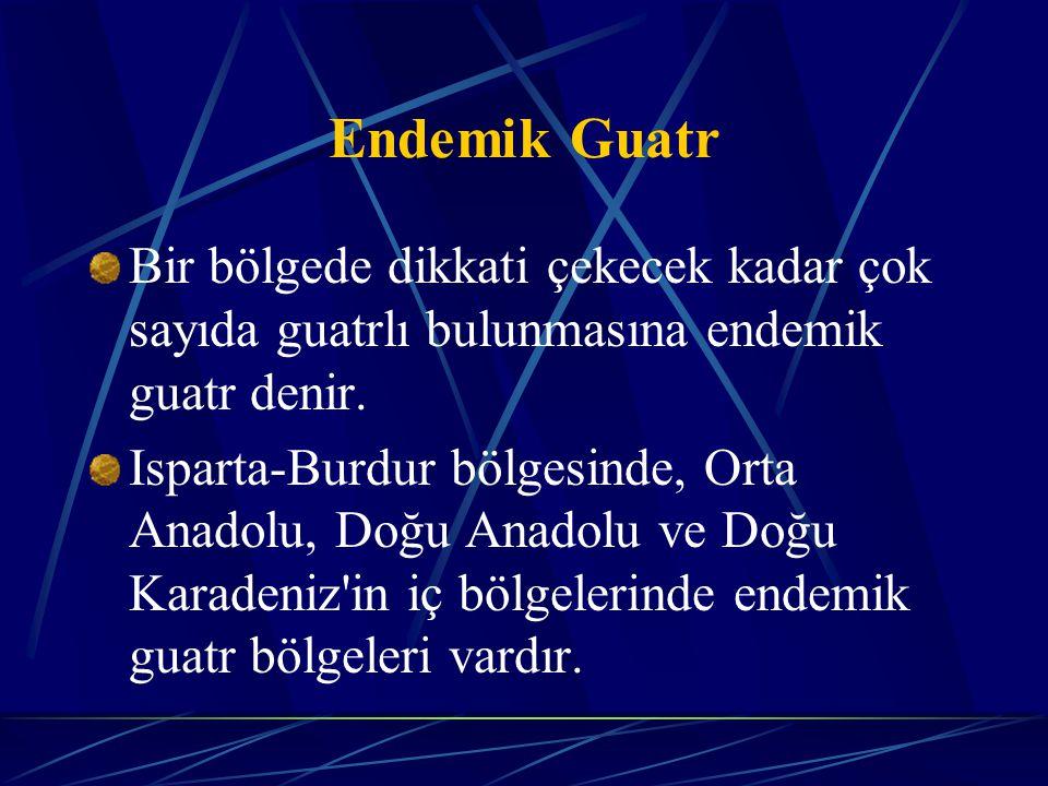 Endemik Guatr Bir bölgede dikkati çekecek kadar çok sayıda guatrlı bulunmasına endemik guatr denir. Isparta-Burdur bölgesinde, Orta Anadolu, Doğu Anad
