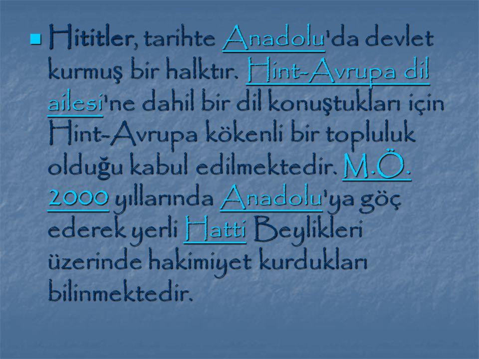 Hititler, tarihte Anadolu da devlet kurmu ş bir halktır.