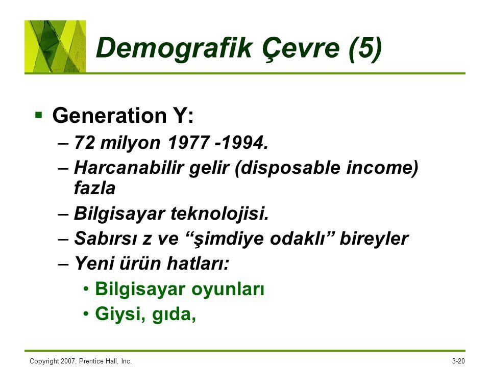 Copyright 2007, Prentice Hall, Inc.3-20 Demografik Çevre (5)  Generation Y: –72 milyon 1977 -1994. –Harcanabilir gelir (disposable income) fazla –Bil