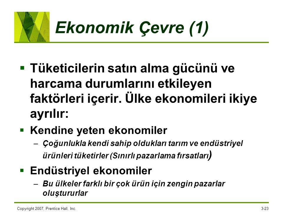 Ekonomik Çevre (1)  Tüketicilerin satın alma gücünü ve harcama durumlarını etkileyen faktörleri içerir. Ülke ekonomileri ikiye ayrılır:  Kendine yet