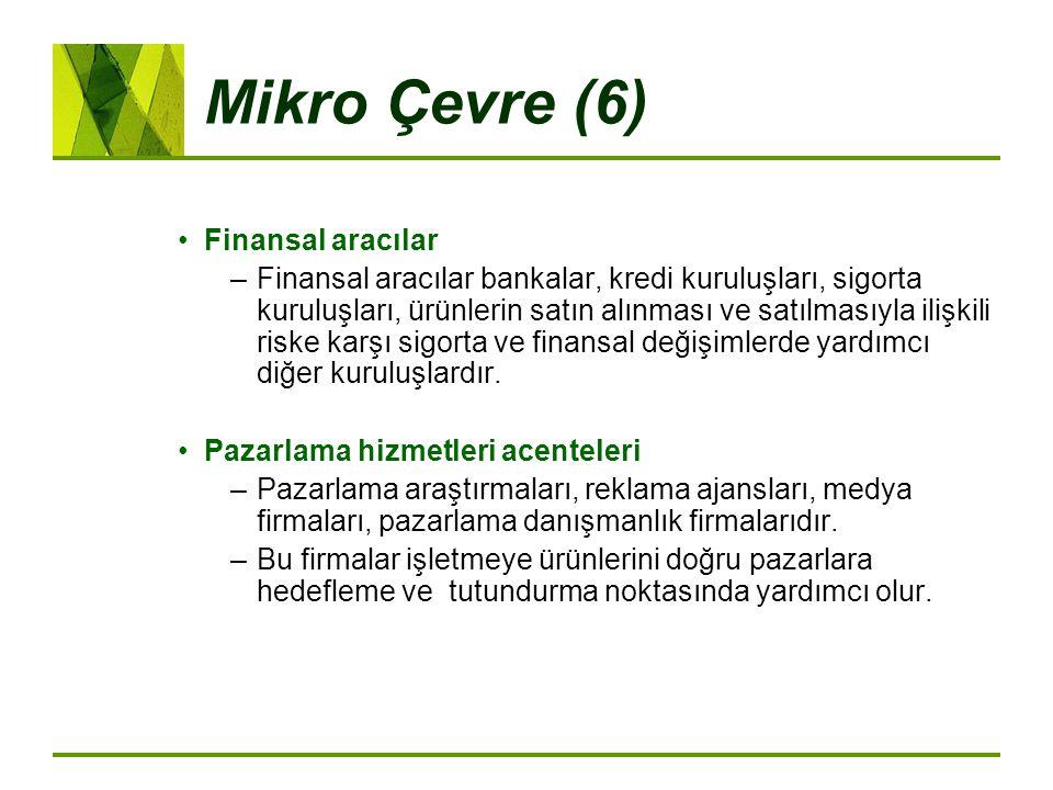 Mikro Çevre (6) Finansal aracılar –Finansal aracılar bankalar, kredi kuruluşları, sigorta kuruluşları, ürünlerin satın alınması ve satılmasıyla ilişki