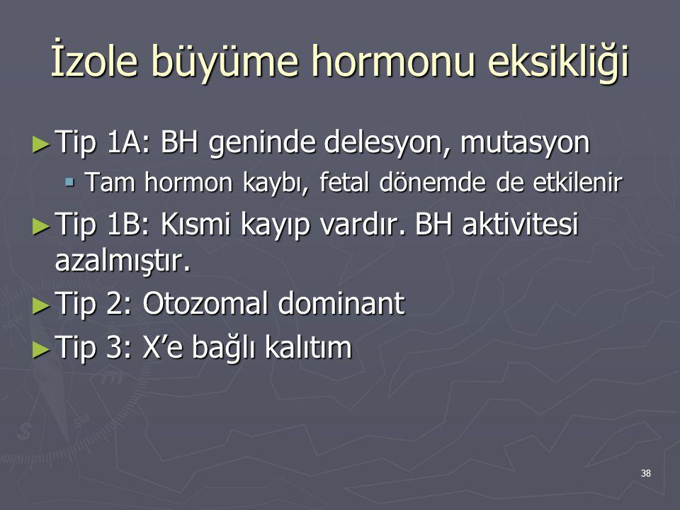 38 İzole büyüme hormonu eksikliği ► Tip 1A: BH geninde delesyon, mutasyon  Tam hormon kaybı, fetal dönemde de etkilenir ► Tip 1B: Kısmi kayıp vardır.