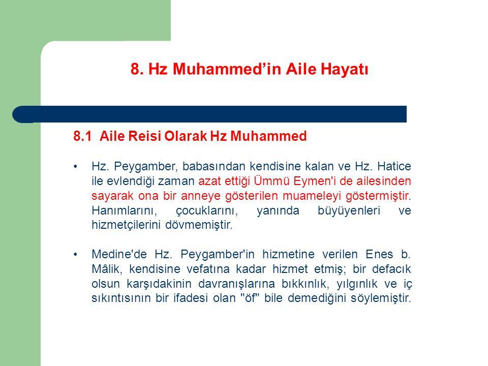 8. Hz Muhammed'in Aile Hayatı 8.1 Aile Reisi Olarak Hz Muhammed Hz. Peygamber, babasından kendisine kalan ve Hz. Hatice ile evlendiği zaman azat ettiğ