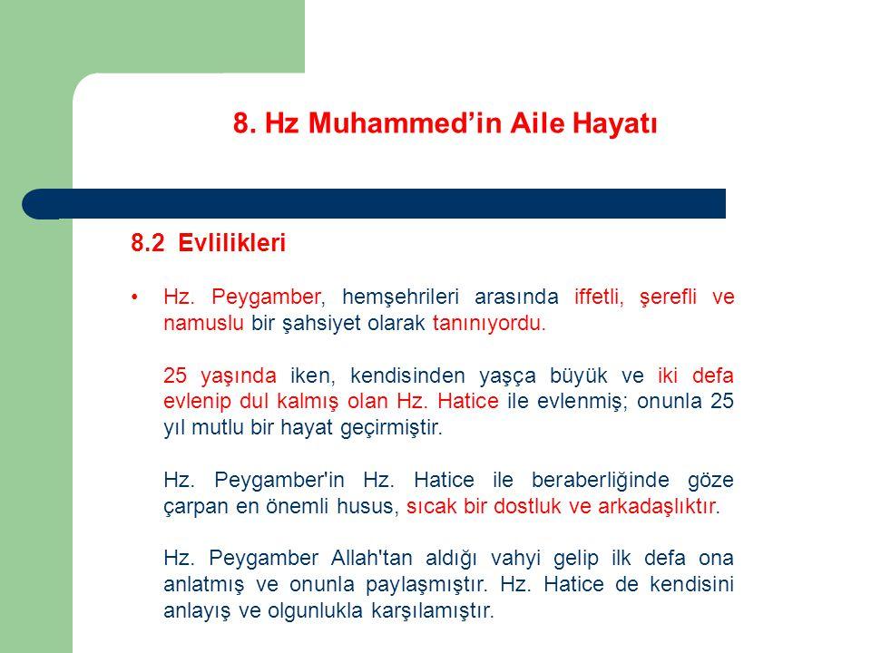 8. Hz Muhammed'in Aile Hayatı 8.2 Evlilikleri Hz. Peygamber, hemşehrileri arasında iffetli, şerefli ve namuslu bir şahsiyet olarak tanınıyordu. 25 yaş