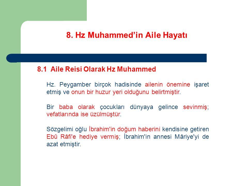 8. Hz Muhammed'in Aile Hayatı 8.1 Aile Reisi Olarak Hz Muhammed Hz. Peygamber birçok hadisinde ailenin önemine işaret etmiş ve onun bir huzur yeri old