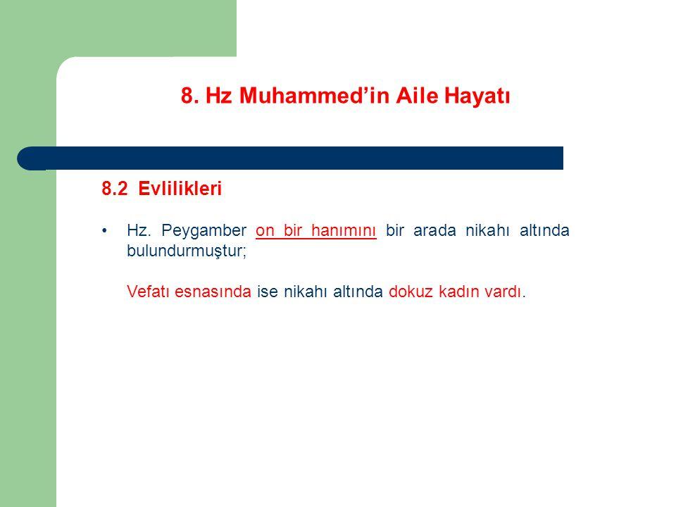 8. Hz Muhammed'in Aile Hayatı 8.2 Evlilikleri Hz. Peygamber on bir hanımını bir arada nikahı altında bulundurmuştur; Vefatı esnasında ise nikahı altın