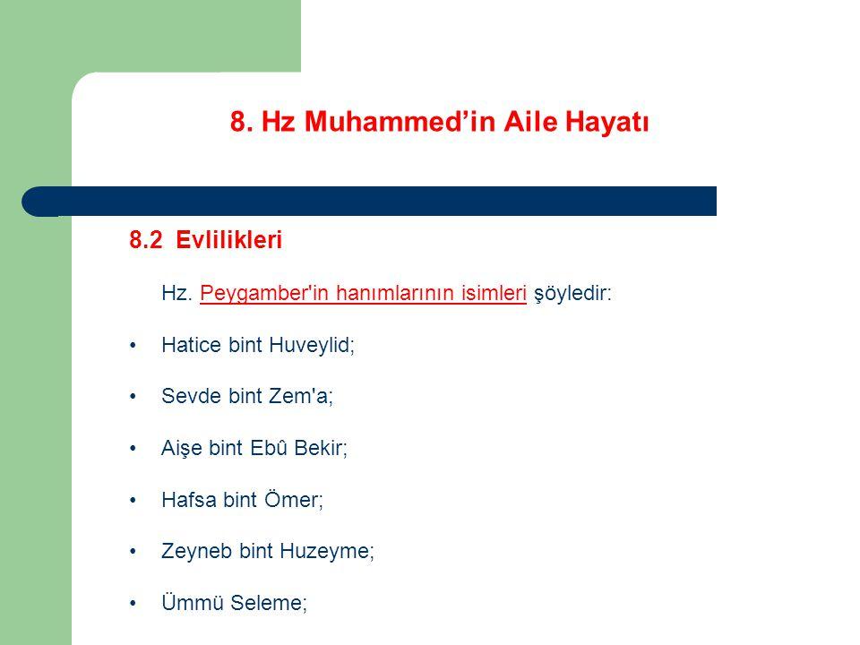 8. Hz Muhammed'in Aile Hayatı 8.2 Evlilikleri Hz. Peygamber'in hanımlarının isimleri şöyledir: Hatice bint Huveylid; Sevde bint Zem'a; Aişe bint Ebû B