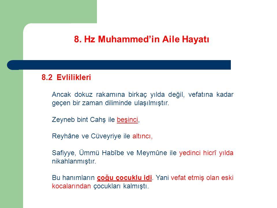 8. Hz Muhammed'in Aile Hayatı 8.2 Evlilikleri Ancak dokuz rakamına birkaç yılda değil, vefatına kadar geçen bir zaman diliminde ulaşılmıştır. Zeyneb b