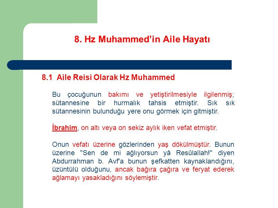 8. Hz Muhammed'in Aile Hayatı 8.1 Aile Reisi Olarak Hz Muhammed Bu çocuğunun bakımı ve yetiştirilmesiyle ilgilenmiş; sütannesine bir hurmalık tahsis e