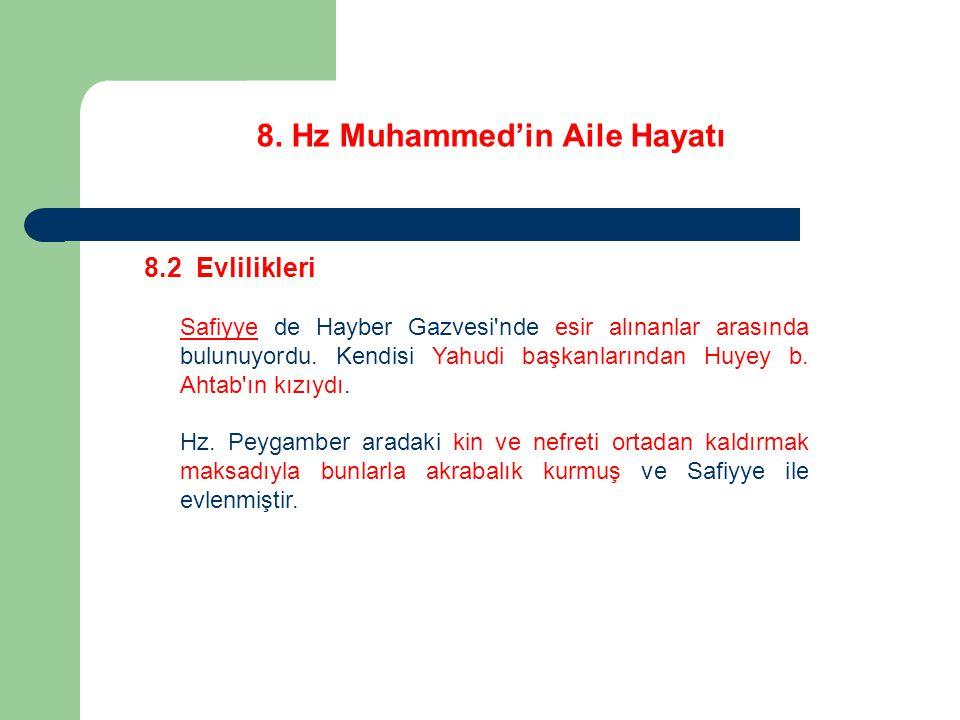 8. Hz Muhammed'in Aile Hayatı 8.2 Evlilikleri Safiyye de Hayber Gazvesi'nde esir alınanlar arasında bulunuyordu. Kendisi Yahudi başkanlarından Huyey b