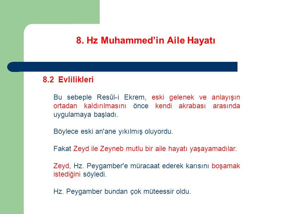 8. Hz Muhammed'in Aile Hayatı 8.2 Evlilikleri Bu sebeple Resûl-i Ekrem, eski gelenek ve anlayışın ortadan kaldırılmasını önce kendi akrabası arasında